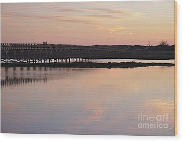Wooden Bridge And Twilight Wood Print by Angelo DeVal