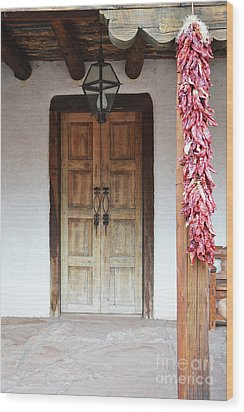 Wood Print featuring the photograph Wooden Chili Door by Andrea Hazel Ihlefeld