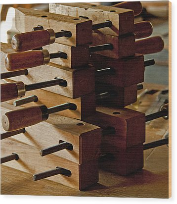 Wooden Clamps Wood Print by Wilma  Birdwell
