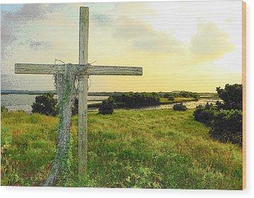 Wooden Cross 1 Wood Print by Sheri McLeroy
