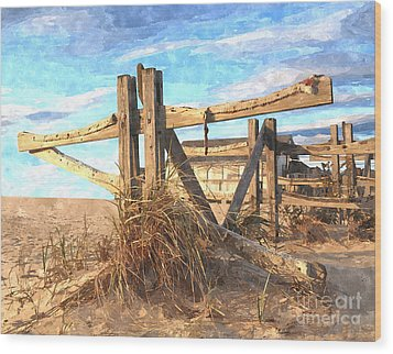 Wooden Cross Falmouth Beach Wood Print by Bryan Attewell