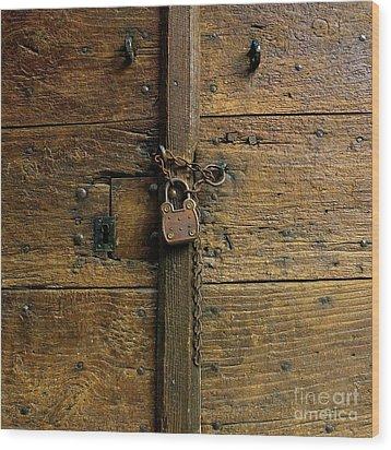Wooden Door Wood Print by Bernard Jaubert