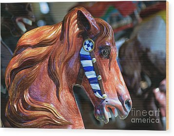 Wooden Horse Wood Print by John S