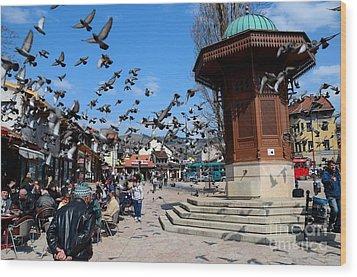 Wooden Ottoman Sebilj Water Fountain In Sarajevo Bascarsija Bosnia Wood Print