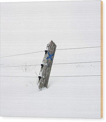 Wooden Post In Winter Wood Print by Bernard Jaubert