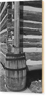 Wooden Water Barrel Wood Print by Douglas Barnett