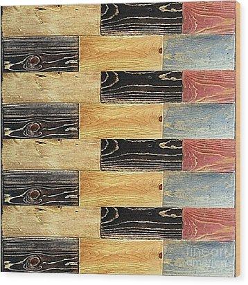 Woodgrain Art Abstract Golds Black Blues Wood Print by Scott D Van Osdol