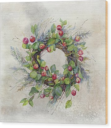 Woodland Berry Wreath Wood Print by Colleen Taylor