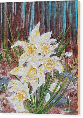 Wood Print featuring the painting Woodland Daffodils by Judith Rhue