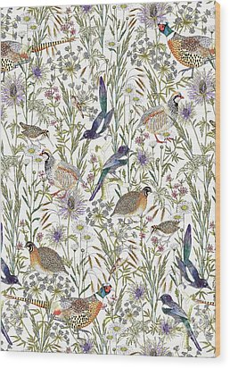 Woodland Edge Birds Wood Print by Jacqueline Colley