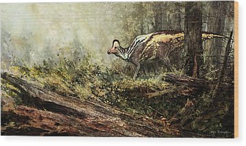 Woodland Encounter - Corythosaurus Wood Print by Angie Rodrigues