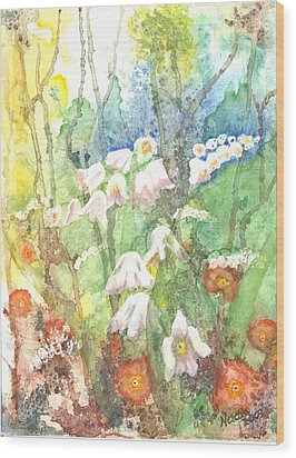 Wood Print featuring the painting Woodland Garden by Renate Nadi Wesley