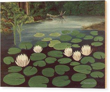 Woodland Hidden Pond Wood Print by Fred Jinkins