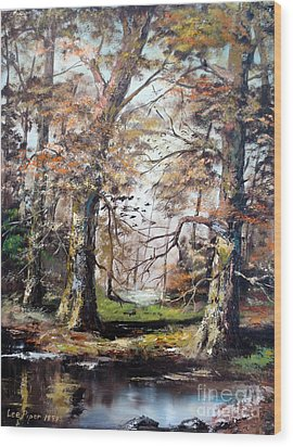 Wood Print featuring the painting Woodland Pond  by Lee Piper