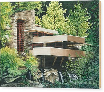 Fallingwater-a Woodland Retreat By Frank Lloyd Wright Wood Print by Barbara Jewell