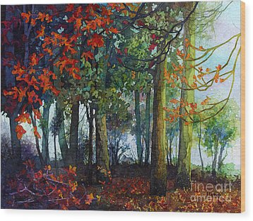 Wood Print featuring the painting Woodland Trail by Hailey E Herrera