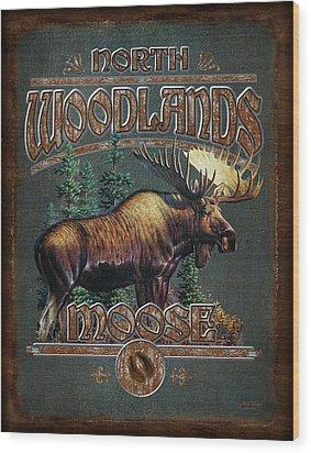 Woodlands Moose Wood Print by JQ Licensing