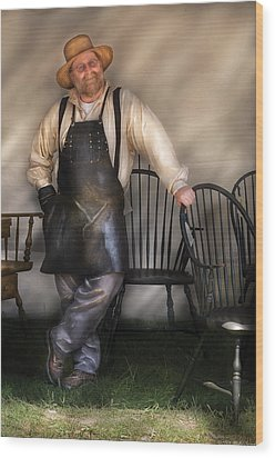 Woodworker - The Chair Maker  Wood Print by Mike Savad