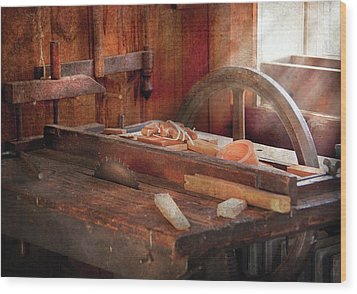 Woodworker - The Table Saw Wood Print by Mike Savad