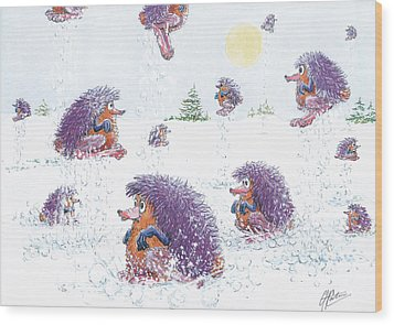 Woolly Snow Hoppers Wood Print