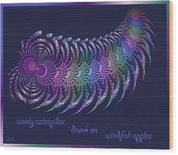 Wooly Caterpillar Haiga Wood Print by Judi Suni Hall