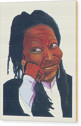Wood Print featuring the painting Woopy Goldberg by Emmanuel Baliyanga