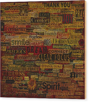 Wood Print featuring the mixed media Words Matter by Gloria Rothrock