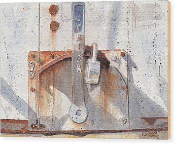 Work Trailer Lock Number One Wood Print by Ken Powers
