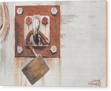 Work Trailer Lock Number Two Wood Print by Ken Powers