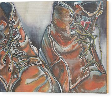 Working Man's Boots Wood Print by Stephanie Come-Ryker
