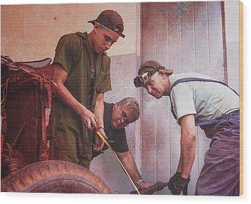 Wood Print featuring the photograph Working On Classic Cars Havana Cuba by Joan Carroll