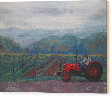 Working The Vineyard Wood Print