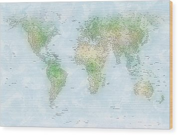 World Cities Map Wood Print by Michael Tompsett