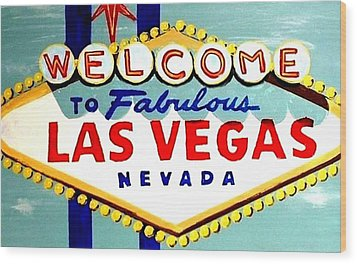 World Famous Las Vegas Sign Daytime Wood Print by Teo Alfonso