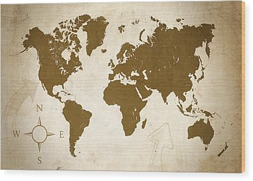 World Grunge Wood Print by Ricky Barnard