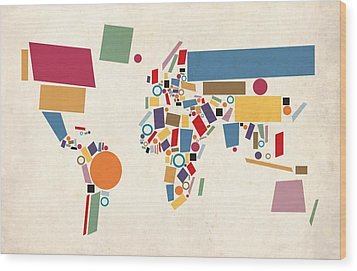 World Map Abstract Wood Print by Michael Tompsett