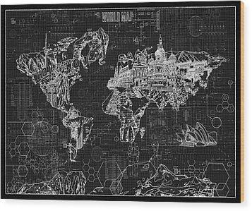 Wood Print featuring the digital art World Map Blueprint 2 by Bekim Art