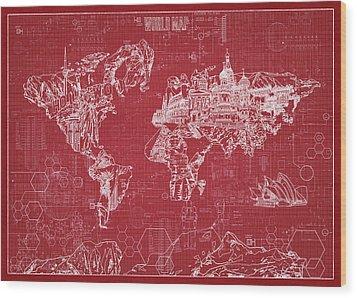 Wood Print featuring the digital art World Map Blueprint 3 by Bekim Art