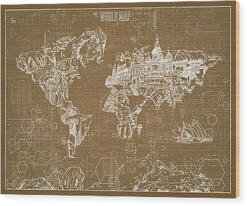 World Map Blueprint 4 Wood Print by Bekim Art