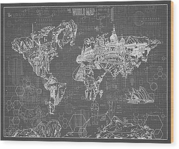World Map Blueprint 5 Wood Print by Bekim Art
