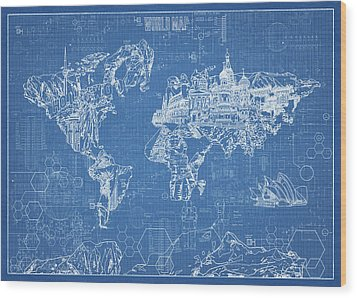 World Map Blueprint Wood Print by Bekim Art