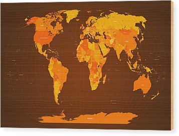 World Map Fall Colours Wood Print by Michael Tompsett