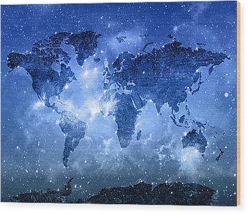 World Map Galaxy 9 Wood Print by Bekim Art