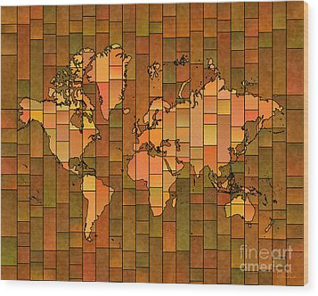 World Map Glasa Brown Orange Green Wood Print by Eleven Corners