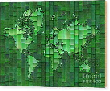 World Map Glasa Green Wood Print by Eleven Corners