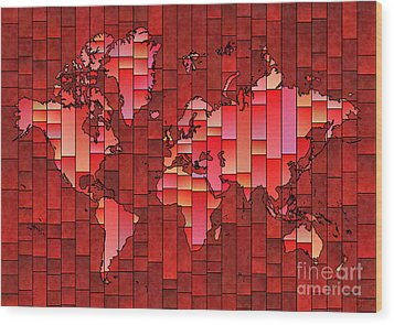 World Map Glasa Red Wood Print by Eleven Corners