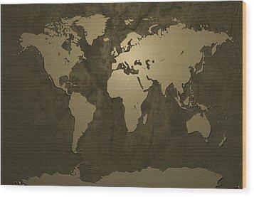 World Map Gold Wood Print by Michael Tompsett