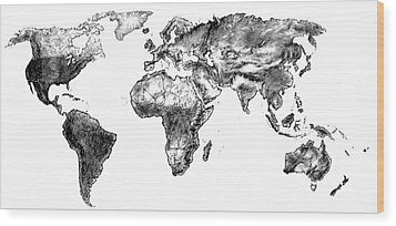 Wood Print featuring the drawing World Map In Graphite by Heidi Kriel