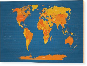 World Map In Orange And Blue Wood Print by Michael Tompsett