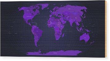 World Map In Purple Wood Print by Michael Tompsett